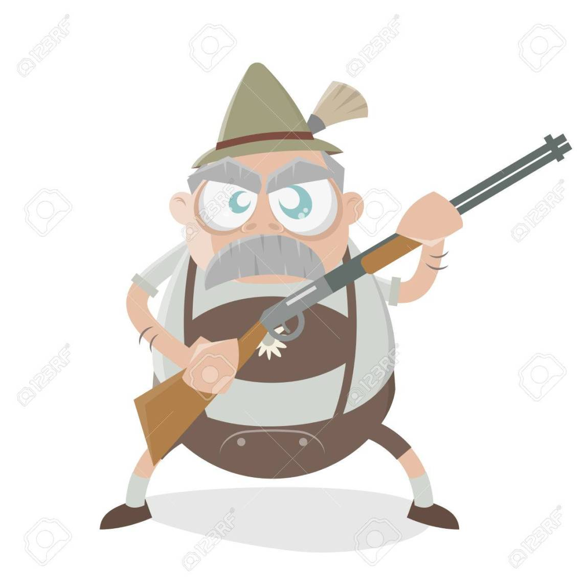 39198265-angry-bavarian-man-with-gun-Stock-Vector